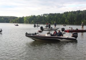 Fishing tournament participants in Lake Rhodiss