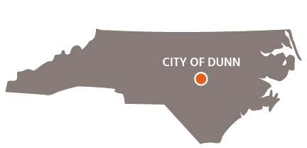 City of Dunn Location on North Carolina Map