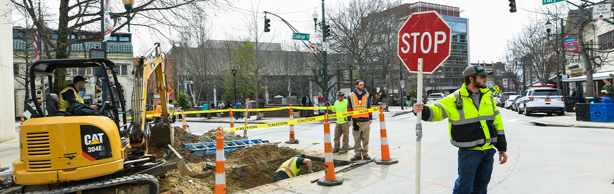 Haywood Streetscape Construction at crosswalk