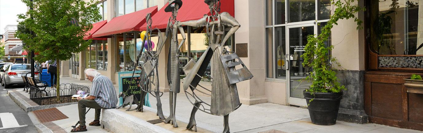 Downtown Asheville Shopping Daze Sculpture